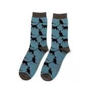 Mr Heron Lucky Cats Socks Denim (MH179DENIM)