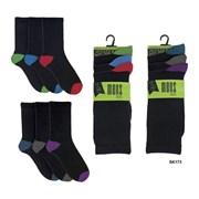 Mens 3 Pack Contrast Heel & Toe Socks (SK173)