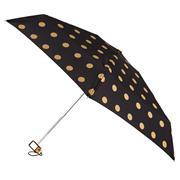 Totes Isotoner Compact Flat Gold Metallic Dot Print Umbrella (8081TNF)