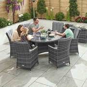 Sienna 6 Seat Dining Set Round Table-grey 1.3m (N16546)