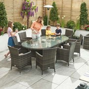 Sienna 8 Seat Dining Set - 2.3m x 1.2m Oval Table - Brown