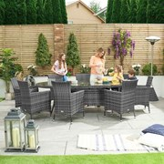 Sienna 8 Seat Dining Set - 2.3m x 1.2m Oval Table - Grey