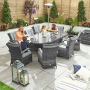 Olivia 8 Seat Dining Set - 2.3m x 1.2m Oval Table - Grey