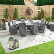 Ruxley 8 Seat Dining Set - 2.3m x 1.2m Oval Table - Grey