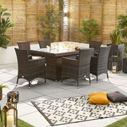 Amelia 6 Seat Dining Set with Fire Pit - 1.5m x 1m Rectangular Table - Brown