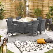 Amelia 6 Seat Dining Set with Fire Pit - 1.5m x 1m Rectangular Table - Grey