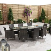 Amelia 8 Seat Dining Set with Fire Pit - 2.3m x 1.2m Oval Table - Brown