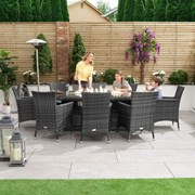 Amelia 8 Seat Dining Set with Fire Pit - 2.3m x 1.2m Oval Table - Grey