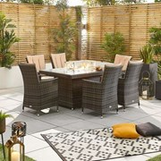 Sienna 6 Seat Dining Set with Fire Pit - 1.5m x 1m Rectangular Table - Brown
