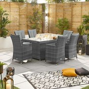 Sienna 6 Seat Dining Set with Fire Pit - 1.5m x 1m Rectangular Table - Grey