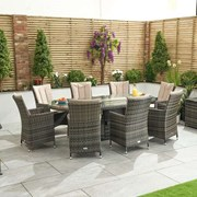 Sienna 8 Seat Dining Set with Fire Pit - 2.3m x 1.2m Oval Table - Brown