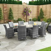 Sienna 8 Seat Dining Set with Fire Pit - 2.3m x 1.2m Oval Table - Grey