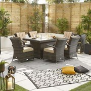 Olivia 6 Seat Dining Set with Fire Pit - 1.5m x 1m Rectangular Table - Brown