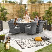 Olivia 6 Seat Dining Set with Fire Pit - 1.5m x 1m Rectangular Table - Grey