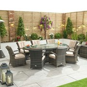 Olivia 8 Seat Dining Set with Fire Pit - 2.3m x 1.2m Oval Table - Brown