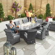Olivia 8 Seat Dining Set with Fire Pit - 2.3m x 1.2m Oval Table - Grey