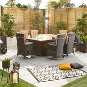 Ruxley 6 Seat Dining Set with Fire Pit - 1.5m x 1m Rectangular Table - Brown