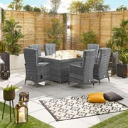 Ruxley 6 Seat Dining Set with Fire Pit - 1.5m x 1m Rectangular Table - Grey
