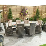 Ruxley 8 Seat Dining Set with Fire Pit - 2.3m x 1.2m Oval Table - Brown