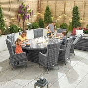 Ruxley 8 Seat Dining Set with Fire Pit - 2.3m x 1.2m Oval Table - Grey