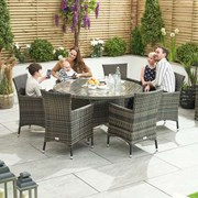 Amelia 6 Seat Dining Set with Ice Bucket - 1.35m Round Table - Brown