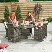 Sienna 6 Seat Dining Set with Ice Bucket - 1.35m Round Table - Brown