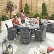 Sienna 6 Seat Dining Set with Ice Bucket - 1.35m Round Table - Grey