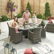 Sienna 6 Seat Dining Set with Ice Bucket - 1.8m x 1.2m Oval Table - Brown