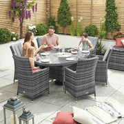 Sienna 6 Seat Dining Set with Ice Bucket - 1.8m x 1.2m Oval Table - Grey