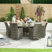 Sienna 8 Seat Dining Set with Ice Bucket - 1.8m Round Table - Brown