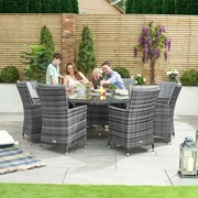 Sienna 8 Seat Dining Set with Ice Bucket - 1.8m Round Table - Grey