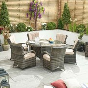 Olivia 6 Seat Dining Set with Ice Bucket - 1.35m Round Table - Brown