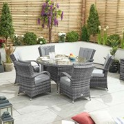 Olivia 6 Seat Dining Set with Ice Bucket - 1.35m Round Table - Grey