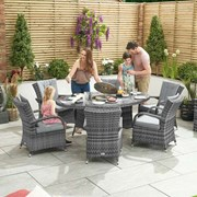 Olivia 6 Seat Dining Set with Ice Bucket - 1.8m x 1.2m Oval Table - Grey