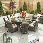 Olivia 8 Seat Dining Set with Ice Bucket - 1.8m Round Table - Brown