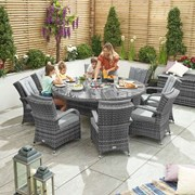 Olivia 8 Seat Dining Set with Ice Bucket - 1.8m Round Table - Grey