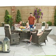 Ruxley 6 Seat Dining Set with Ice Bucket - 1.35m Round Table - Brown