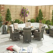 Ruxley 6 Seat Dining Set with Ice Bucket - 1.8m x 1.2m Oval Table - Brown