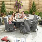 Ruxley 6 Seat Dining Set with Ice Bucket - 1.8m x 1.2m Oval Table - Grey