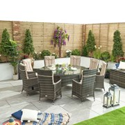 Ruxley 8 Seat Dining Set with Ice Bucket - 1.8m Round Table - Brown