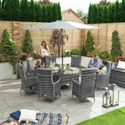 Ruxley 8 Seat Dining Set with Ice Bucket - 1.8m Round Table - Grey