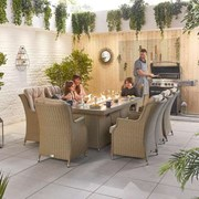 Heritage Thalia 8 Seat Dining Set with Fire Pit 2m x 1m Rectangular Table Willow