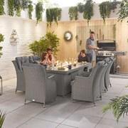 Nova Heritage Thalia 8 Seat Dining Set with Fire Pit 2m x 1m Rectangular Table S
