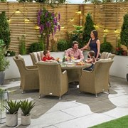 Heritage Thalia 6 Seat Dining Set with Ice Bucket - 1.35m Round Table - Willow
