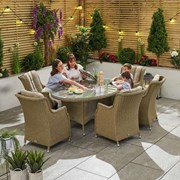 Heritage Thalia 6 Seat Dining Set with Ice Bucket 1.8m x 1.2m Oval Table Willow