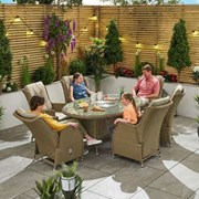 Heritage Carolina 6 Seat Dining Set 1.8m x 1.2m Oval Table Willow