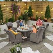 Heritage Carolina 6 Seat Dining Set 1.8m x 1.2m Oval Table White Wash