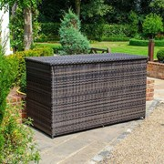 Rattan Storage Box with Cover - Brown