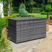 Rattan Storage Box with Cover - Grey