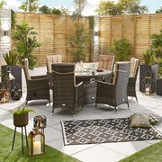 Ruxley 6 Seat Dining Set with Fire Pit - 1.5m Round Table - Brown
